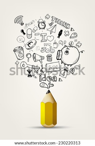write doodle idea on white paper. - stock vector