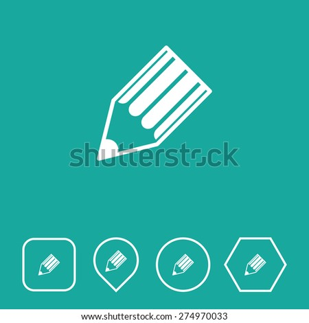 Write Icon on Flat UI Colors with Different Shapes. Eps-10. - stock vector