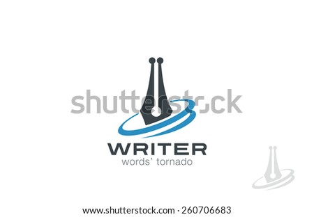 Writer Pen Logo design, vector template. Law symbol icon. Legal Lawyer Logotype concept. - stock vector