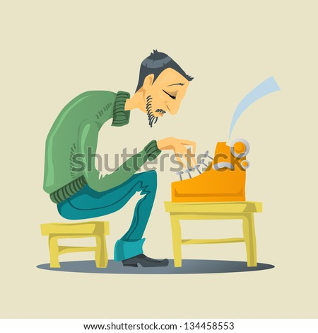 Writer with a Typewriter - stock vector