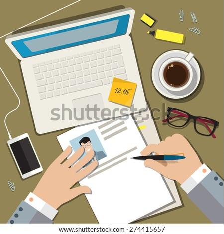 Writing a business cv resume concept. Flat design vector illustration - stock vector