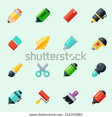 Writing and drawing tools icons in flat design - stock vector