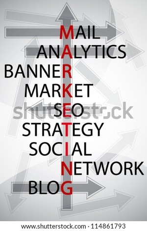 Writing marketing and other relate word concept background - stock vector