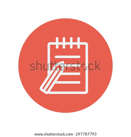 Writing pad with pen thin line icon for web and mobile minimalistic flat design. Vector white icon inside the red circle. - stock vector