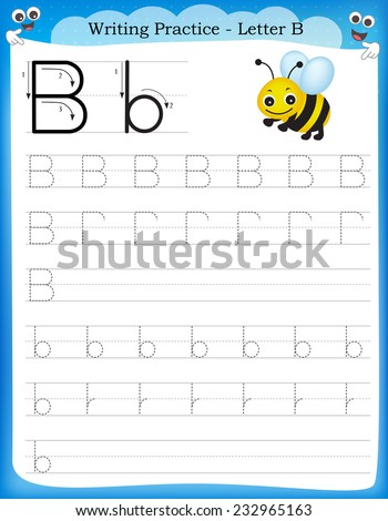 Writing practice letter B  printable worksheet for preschool / kindergarten kids to improve basic writing skills  - stock vector