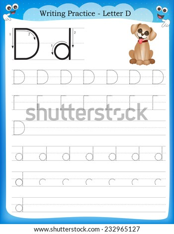Writing practice letter D  printable worksheet for preschool / kindergarten kids to improve basic writing skills  - stock vector