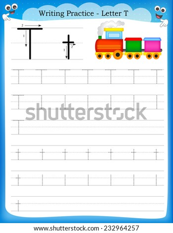 Writing practice letter T  printable worksheet with clip art for preschool / kindergarten kids to improve basic writing skills  - stock vector