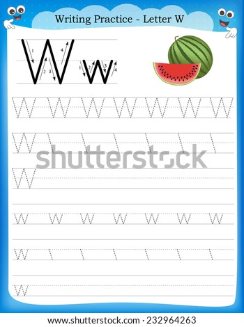 Writing practice letter W  printable worksheet with clip art for preschool / kindergarten kids to improve basic writing skills  - stock vector