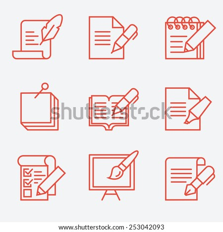 Writing tools icons, thin line style, flat design - stock vector