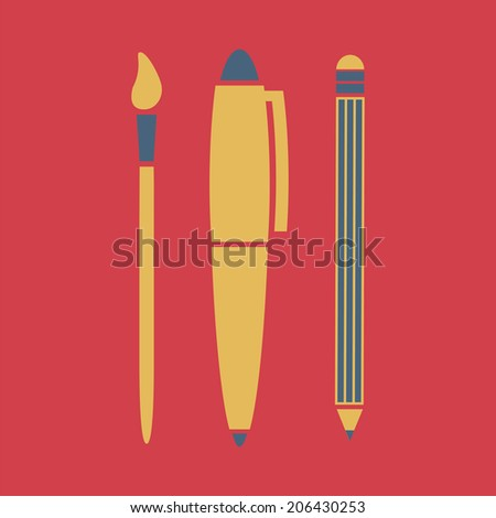 Writing utensils, vector, flat icon (from set Back to school) - stock vector