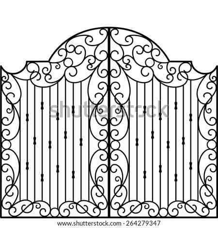 Wrought Iron Gate, Door, Fence - stock vector