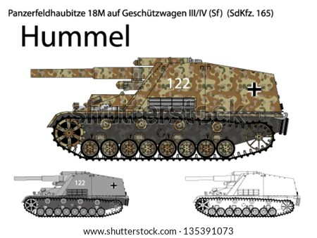 WW2 German Hummel self propelled artillery - stock vector