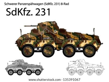 WW2 German SdKfz. 231 armored car - stock vector