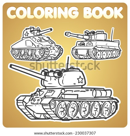 WWII tanks Cartoon characters - stock vector