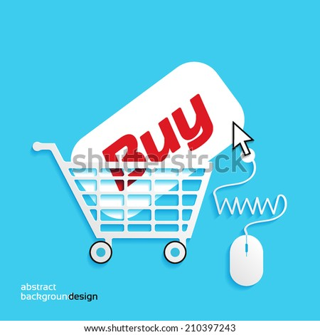 WWW and computer mouse, shopping,  cart icon - stock vector