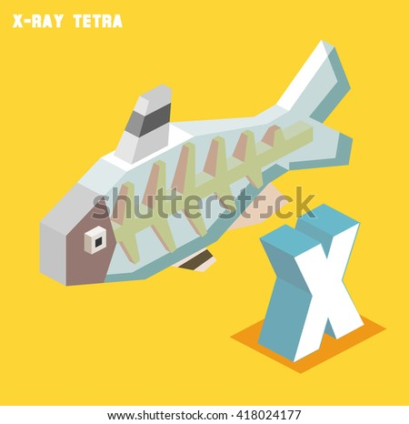 X for X-ray tetra. Animal Alphabet collection. vector illustration - stock vector