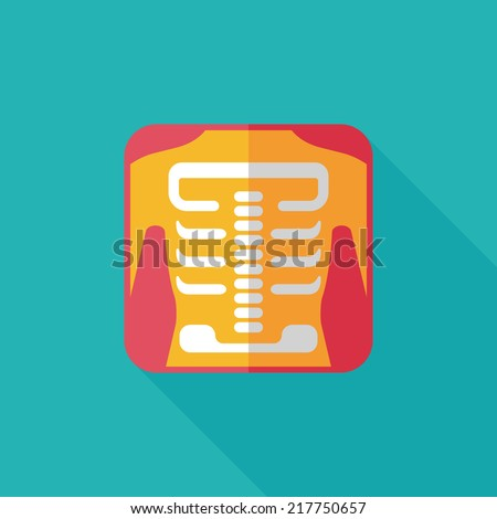 x-ray flat icon with long shadow - stock vector