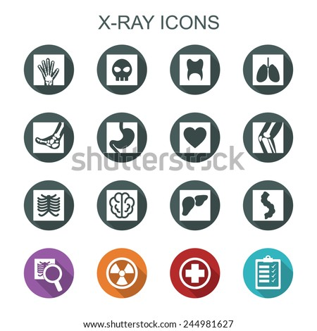 x-ray long shadow icons, flat vector symbols - stock vector