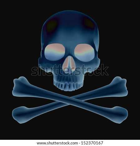X-ray of skull and bones - stock vector