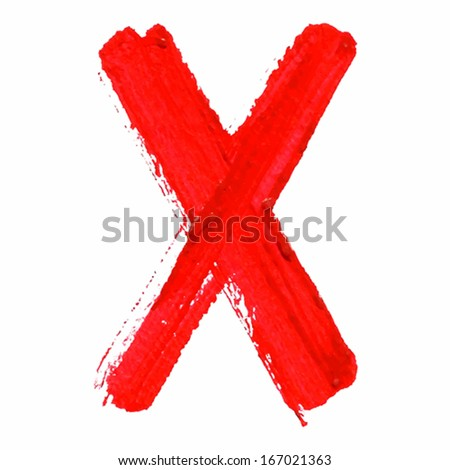 X - Red handwritten  letters on white  background. Acrylic  colors.  Vector Illustration. - stock vector