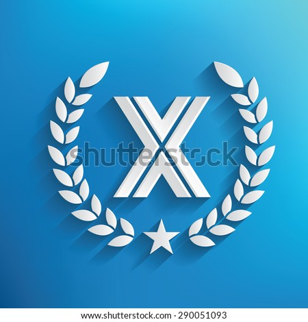 X symbol on blue background,clean vector - stock vector