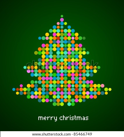 Xmas background with pixel Christmas tree - stock vector