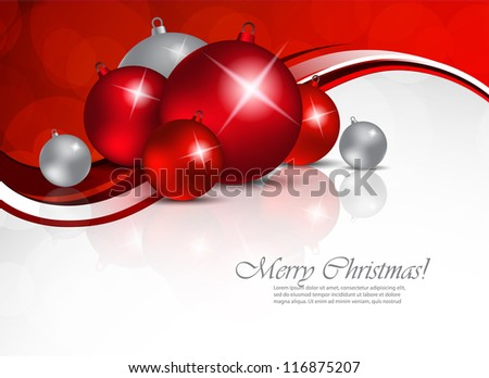 Xmas background with red and silver balls - stock vector