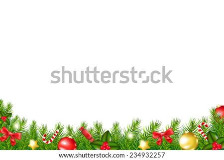 Xmas Border With Fir Tree With Gradient Mesh, Vector Illustration - stock vector