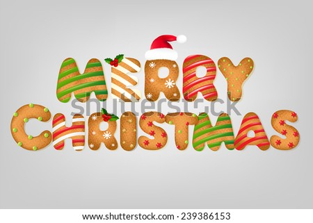 Xmas Cookie Text With Gradient Mesh, Vector Illustration - stock vector
