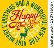 xmas deer and happy new year  vector art - stock vector