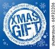 Xmas gift vector rubber stamp. - stock vector