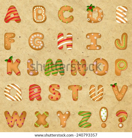 Xmas Gingerbread Cookie Alphabet With Retro Paper With Gradient Mesh, Vector Illustration - stock vector