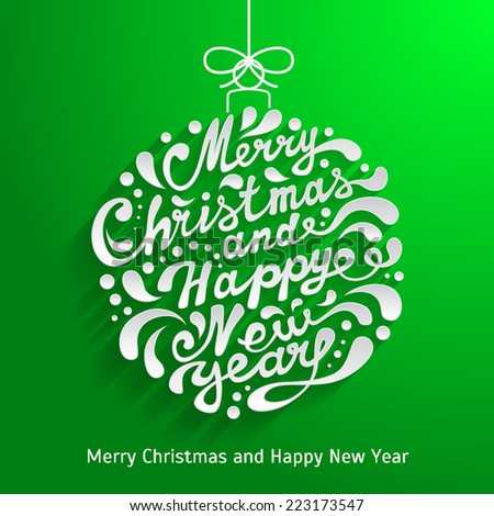 Xmas greeting card with abstract doodle Christmas ball. Merry Christmas and Happy New Year - stock vector