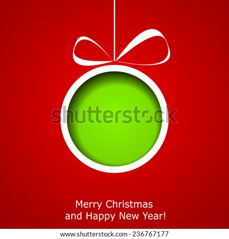 Xmas greeting card with abstract paper Christmas ball on red background. Vector eps10 illustration - stock vector