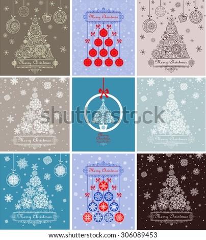 Xmas greeting decorative cards - stock vector