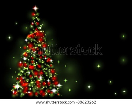 Xmas light - green and red tree - stock vector