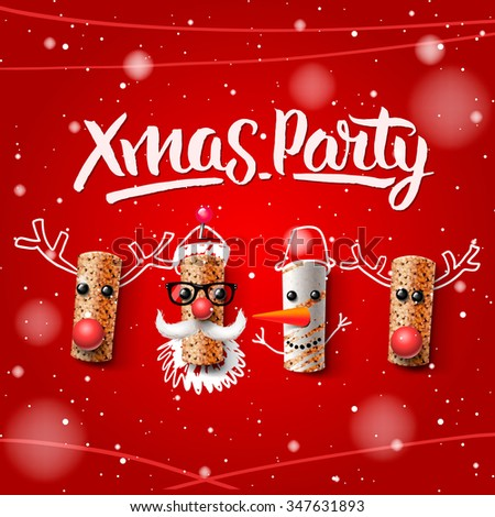 Xmas party template, Christmas characters, Santa Claus, snowman and reindeer, made from wine cork, vector illustration. - stock vector