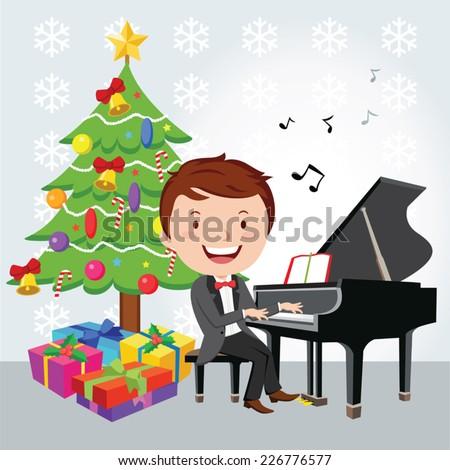 Xmas piano recital. Piano player. - stock vector