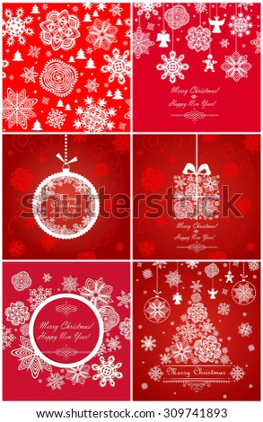 Xmas red greetings with snowflakes - stock vector