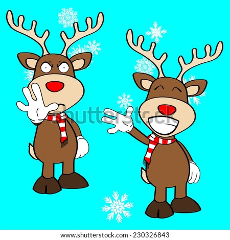 xmas reindeer cartoon expression set in vector format very easy to edit - stock vector