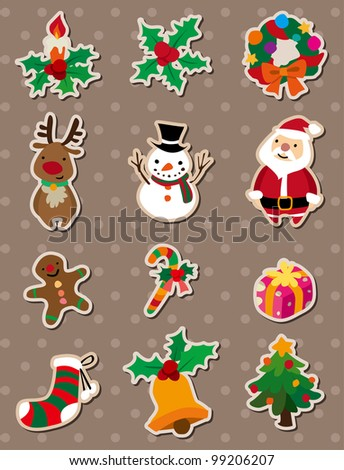 xmas stickers - stock vector