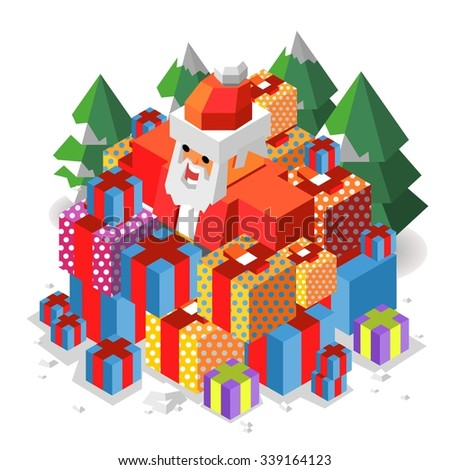 xmas time with Santa. vector isometric - stock vector