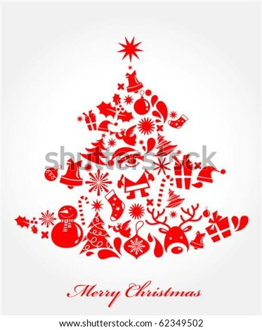 Xmas tree made from different Christmas elements - stock vector