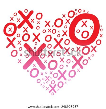 XOXO Heart - stock vector