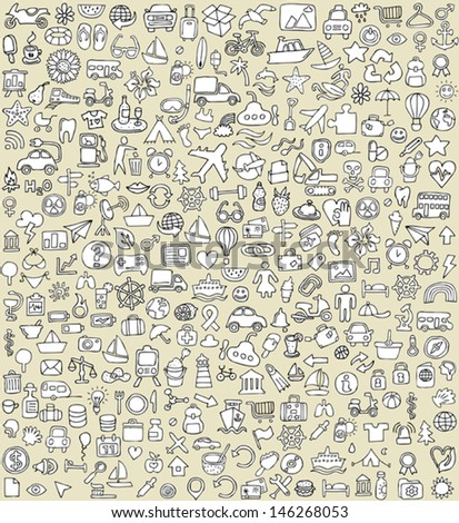 XXL Doodle Icons Set No.4 for every occasion in black-and-white. Small hand-drawn illustrations are isolated (group) on background and in eps8 vector mode. - stock vector