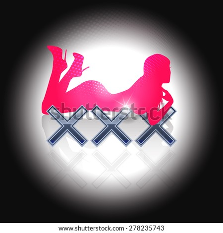 XXX sign with silhouette of sexy woman - stock vector
