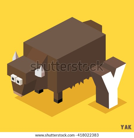 Y for Yak, Animal Alphabet collection. vector illustration - stock vector