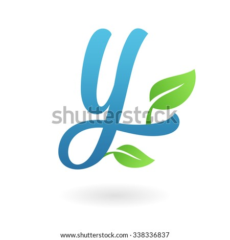 Y letter business logo design template. Abstract calligraphic text vector elements for corporate identity emblem, label or icon of eco friendly company - stock vector