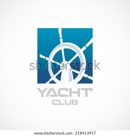 Yacht club logo template. Helm sign. - stock vector
