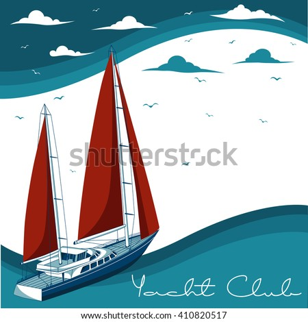 Yacht club. Sea and Ocean Travel Element. Sport and Holiday Template. - stock vector